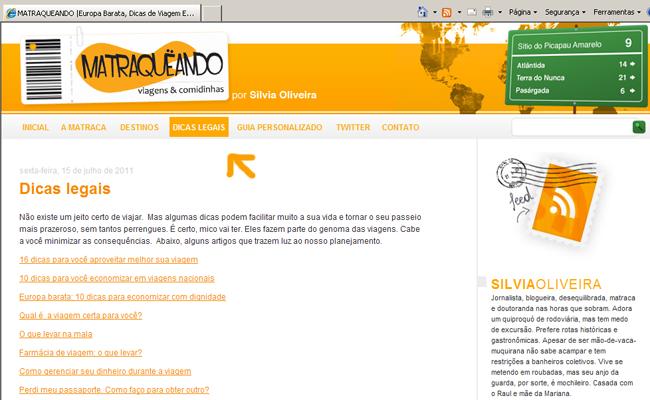 Dicas legais: nova página no cabeçalho do blog