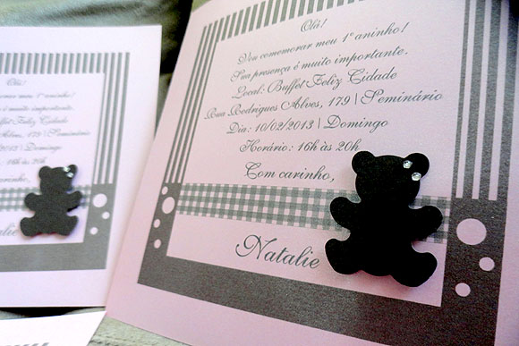Convite Urso Rosa e Marrom 04 - Silvia Oliveira Festa e Receber Bem