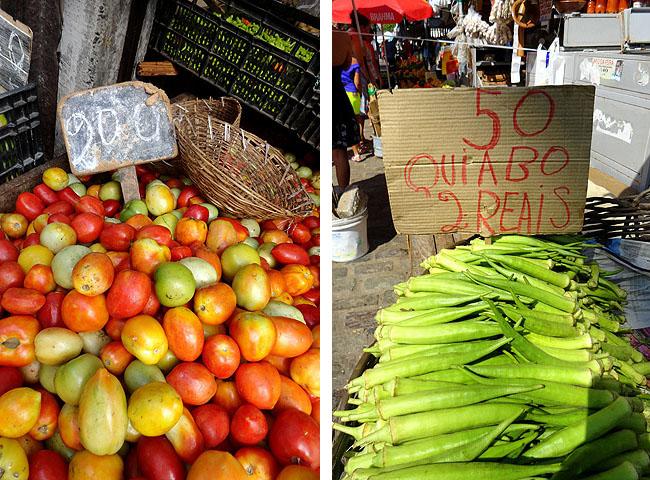Feira de Sao Joaquim Salvador Bahia Tomate e Quiabo