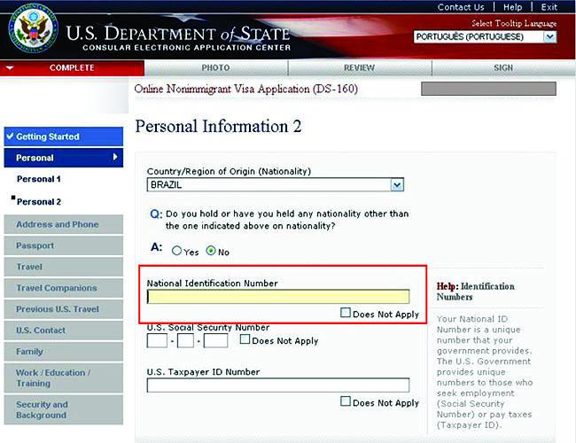 Como tirar o visto americano - DS 160