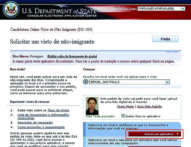 Como tirar o visto americano - Formulario DS 160