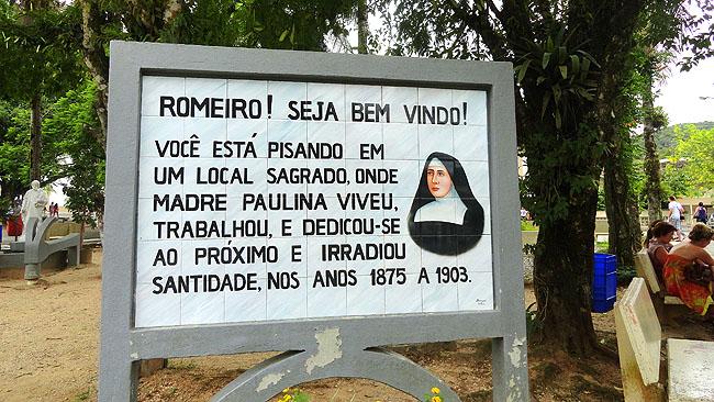 Santuario Santa Paulina Nova Trento SC - Placa