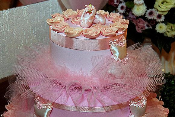 Festa Bailarina dicas de decoracao bolo falso