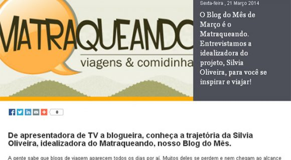 Matraqueando é o blog do mês no site Skyscanner e destaque no portal Expedia