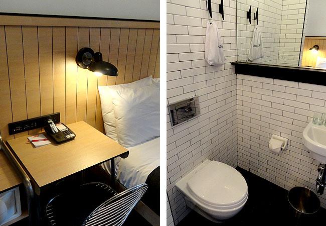 Copia de Hotel bom e barato em Nova York POD 39 Mesa e Banheiro