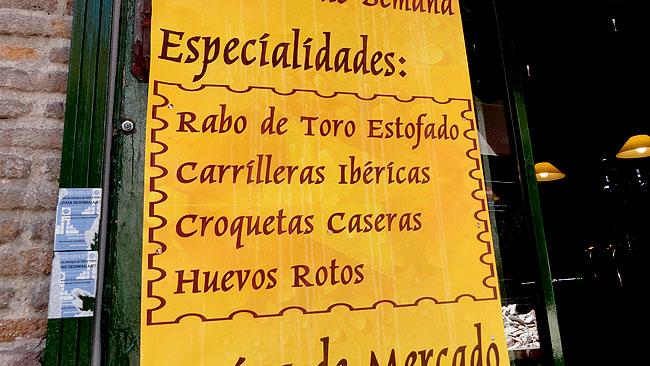 Barrio de las Letras Madri  Cardapio