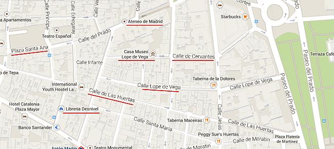 Mapa Barrio de Las letras