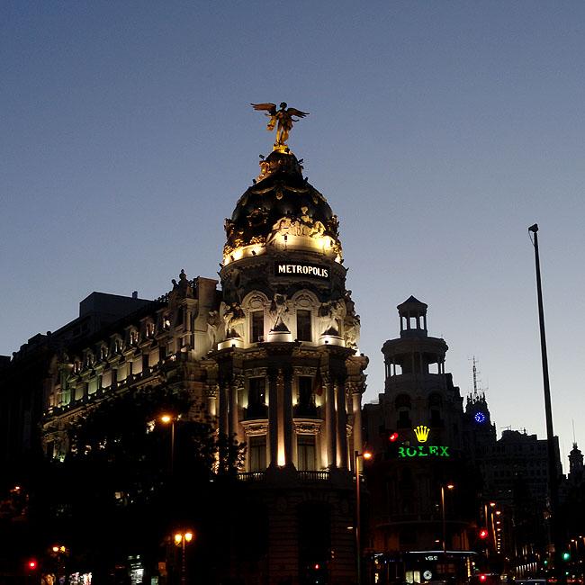 Gran Via Edificio Metropolis Foto Noturna