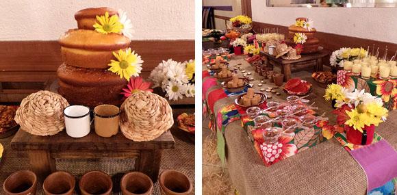 Festa Junina Infantil mesa de doces chita