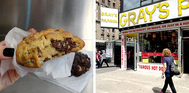 Nova York Levain bakery e Grays Papaya