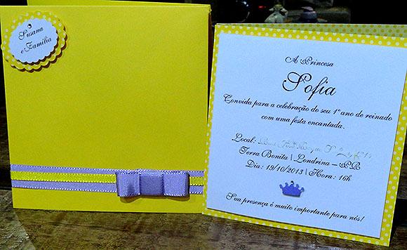 Convite Festa Princesa Sofia dicas